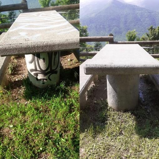 Ripuliscono, dopo averli imbrattati, i tavoli dell'area verde di Madonna del Pino a Demonte