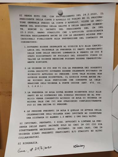 Coronavirus: anche il tribunale di Cuneo adotta misure per la prevenzione del contagio